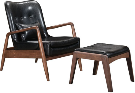 Zuo Modern Bully Lounge Chair & Ottoman Black