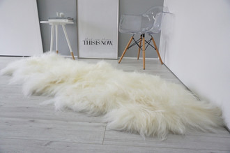 Amazing Genuine Rare Breed - Double - Icelandic Sheepskin Rug - Natural Creamy White Colour