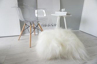 Giant - Genuine Natural - Floor Rare Breed Icelandic Sheepskin Cushion Pillow Creamy White Soft Long Wool
