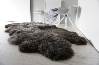 Wonderful Genuine - Rare Breed Scandinavian Pelssau - Quad Sheepskin Rug - Soft Silky Wool - Grey / Blacky Brown / Latte Mix - QS 5