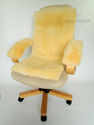 Genuine Medical Sheepskin Seat & Back Cushion - Armrest Cover Kit - Ideal on Office Chair or Wheelchair
