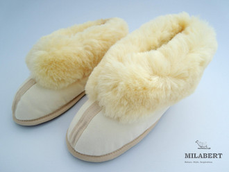 Genuine Medical Sheepskin - Ladies or Mens Home Shoes – Fully Sheepskin Lined Inside - Wool Cuff - Soft Sole