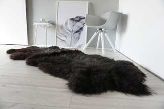 Genuine Rare Breed Scandinavian Pelssau - Double Sheepskin Rug - Soft Silky Wool - Blacky Brown, Grey Mix - DS 4