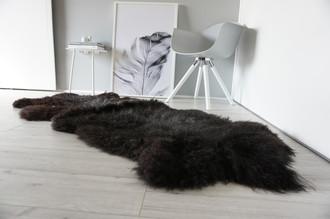 Genuine Rare Breed Scandinavian Pelssau - Double Sheepskin Rug - Soft Silky Wool - Blacky Brown, Grey Mix - DS 4