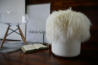 Exclusive Icelandic sheepskin - Super long cream white wool pouf (pouffe) - Soft touch white leather