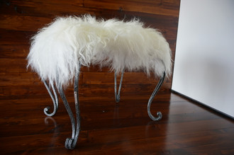 Exclusive Icelandic sheepskin - Extra long white wool Stool - Ottoman with Hand Forged Iron legs