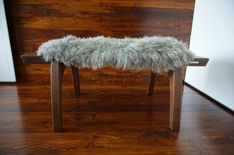 Minimalist Mahogany wood bench Upholstered with curly silver Norwegian Pelssau sheepskin - B0516M5