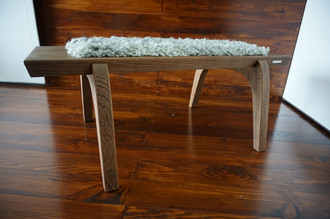 Minimalist Oak wood bench Upholstered with curly silver Scandinavian Gotland sheepskin - B0516O2