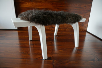 Minimalist white Oak wood bench Upholstered with curly black mix Norwegian Pelssau sheepskin - B0516O5