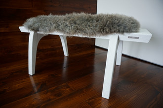 Minimalist white Oak wood bench Upholstered with curly silver mix Norwegian Pelssau sheepskin - B0516O13
