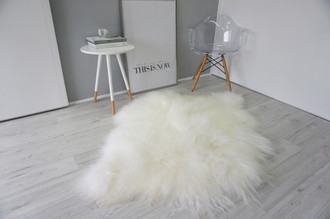 Amazing Genuine Rare Breed - Double Side by Side - Icelandic Sheepskin Rug - Creamy White Colour