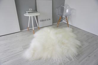 Amazing Genuine Rare Breed - Double Side by Side - Icelandic Sheepskin Rug - Creamy White Colour