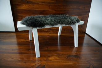 Minimalist white Oak wood bench Upholstered with curly black mix Norwegian Pelssau sheepskin - B0516O16