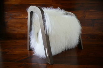 Oak wood Magazine Rack with genuine white rare Mongolian / Tibetan sheepskin rug - curly soft wool