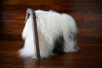 Oak wood Magazine Rack with genuine white & black rare Icelandic sheepskin rug - extra longsoft wool - (MR9)