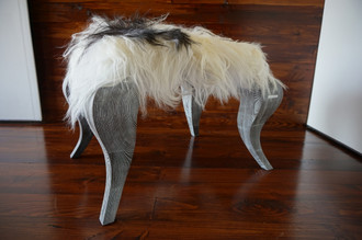 Ottoman style stool on silver Oak wood legs - Upholstered with Icelandic white black mix sheepskin - OS05163