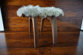 Minimalist Mahogany wood stool Upholstered with curly silver Norwegian Pelssau sheepskin - S0516M1
