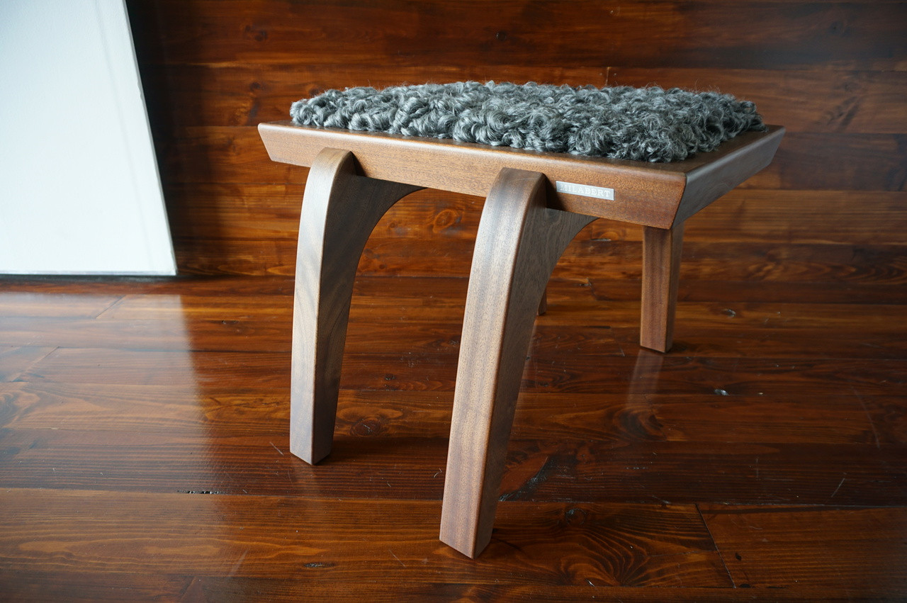 Minimalist Mahogany Wood Stool Upholstered With Curly Silver