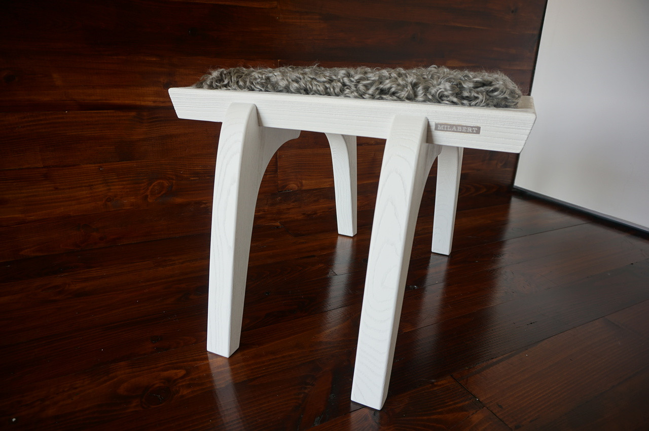 Minimalist White Oak Wood Stool Upholstered With Curly Silver