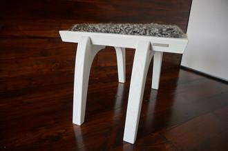 Minimalist white Oak wood stool Upholstered with curly silver Swedish Gotland sheepskin - S051602