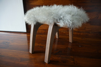 Minimalist Oak wood stool Upholstered with curly silver Norwegian Pelssau sheepskin - S051607