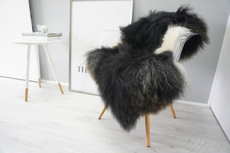 Natural Genuine Rare Breed Icelandic Sheepskin Rug - Blacky Brown | Brown | Creamy White Mix - Soft Touch Long Wool - eSI 17