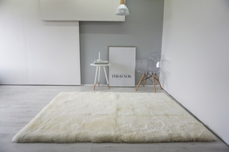 Luxury Genuine Square | Rectangular Sheepskin Rug - Creamy White Mix - Super Soft Wool RCTN 2