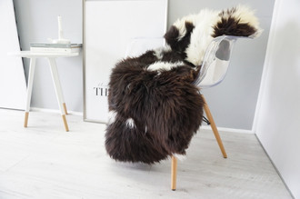 Wonderful Genuine Natural Sheepskin Rug - Soft Thick Wool - Choco Brown | Creamy White | Champagne Mix - SN 146