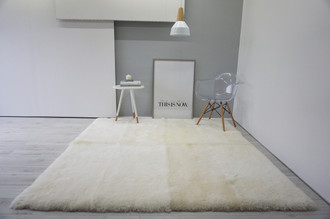 Luxury Genuine Square | Rectangular Sheepskin Rug - Creamy White Mix - RCTN 1