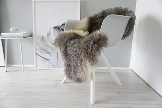 Genuine - Rare Breed Scandinavian - Norway Pelssau Sheepskin Rug - Extremely Soft Silky Wool - Silver | Grey | Latte | Beige Mix - SS 63