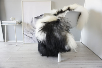 Natural Genuine Rare Breed Icelandic Sheepskin Rug - Blacky Brown   Creamy White Mix - Soft Touch Long Wool - SI 235