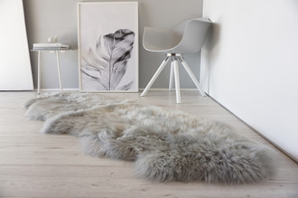 Genuine Double Natural Sheepskin Rug - Extremely soft wool - Dyed Grey   Silver   Ash   Tan Mix - DN 32