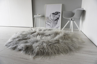 Genuine Natural Icelandic Sheepskin Rug - XXL Round Shape - Silky Soft Long Wool Silver | Grey | Ash | Tan Mix RI 14