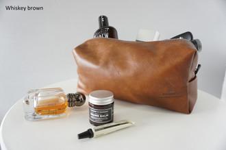 Men's Finest Leather Toiletry Bag | Groomsmen | Wash bag | Travel bag - Handmade