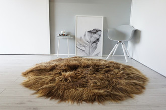 Genuine Icelandic Sheepskin Rug  - Round Shape - Soft Silky Rare Natural Rusty Brown Color Mix - Long Wool | RI 16