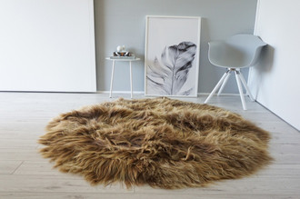 Genuine Icelandic Sheepskin Rug  - Round Shape - Soft Silky Rare Natural Rusty Brown Color Mix - Long Wool | RI 15