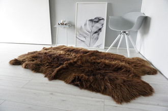 Genuine Natural - Choco Brown Mix Quad Sheepskin Rug - Soft Thick Wool - QN 22