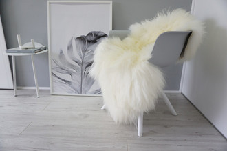 Genuine Icelandic Sheepskin Rug - Creamy White | Ivory | Black Mix - Soft Touch Long Wool - SI 300