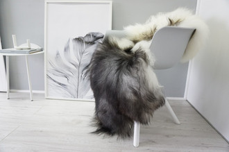 Genuine Icelandic Sheepskin Rug - Blacky Brown | Silver |Creamy White Mix - Soft Touch Long Wool - SI 323