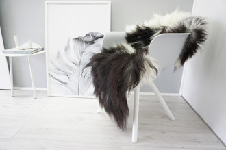Genuine Icelandic Sheepskin Rug - Blacky Brown | Creamy White Mix - Soft Touch Long Wool - SI 325