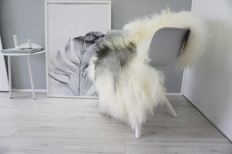 Genuine Icelandic Sheepskin Rug - Silver | Grey | Creamy White Mix - Soft Touch Long Wool - SI 326