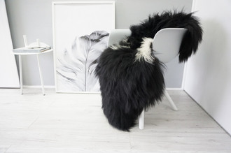 Genuine Icelandic Sheepskin Rug - Blacky Brown | White Mix - Soft Touch Long Wool - SI 336
