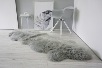 Genuine Double Natural Sheepskin Rug - Extremely soft wool - Dyed Grey | Silver | Ash | Tan Mix - DN 41