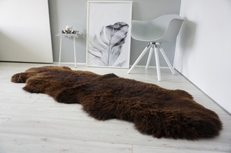 Genuine Natural Double Sheepskin Rug | Soft Wool | Choco | Brown Mix - DN 44