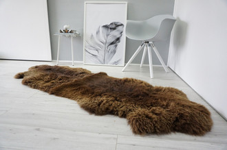 Genuine Natural Double Sheepskin Rug | Soft Wool | Choco | Brown Mix - DN 50