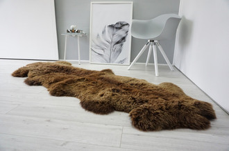 Genuine Natural Double Sheepskin Rug | Soft Wool | Choco | Brown Mix - DN 53