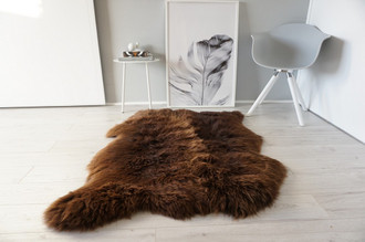 Genuine Natural Double Side by Side Sheepskin Rug |  Soft Wool | Choco | Brown Mix - SBN 22