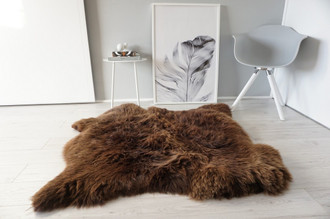 Genuine Natural Double Side by Side Sheepskin Rug |  Soft Wool | Choco | Brown Mix - SBN 23
