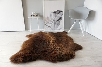 Genuine Natural Double Side by Side Sheepskin Rug |  Soft Wool | Choco | Brown Mix - SBN 24