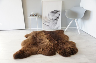 Genuine Natural Double Side by Side Sheepskin Rug |  Soft Wool | Choco | Brown Mix - SBN 26